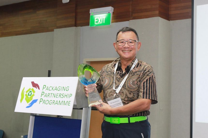 Microwave Packaging's managing director Leonard Lau. The company refreshed its paper lunch box design such that each box needed 35 per cent less paper than before.