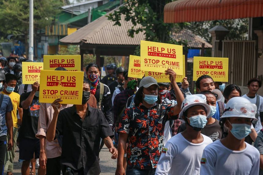 Myanmar has been rocked by almost daily protests since the army overthrew Ms Aung San Suu Kyi's elected government.