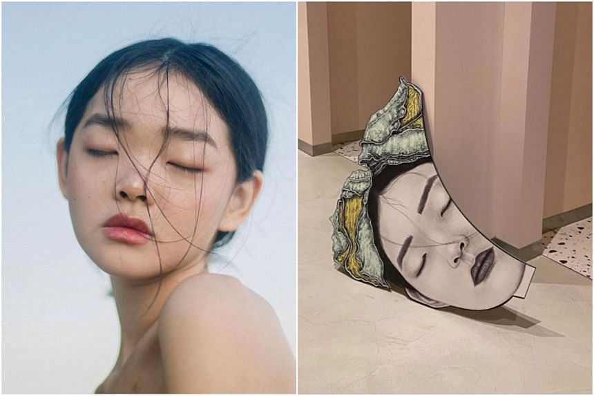 Photo of model Duan Mei Yue photographed by Li Wanjie (left) and an artwork by artist Allison M. Low in Love, Bonito's Funan store.
