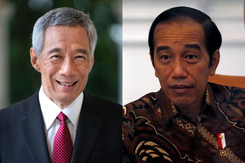 Prime Minister Lee Hsien Loong (left) and Indonesian President Joko Widodo.