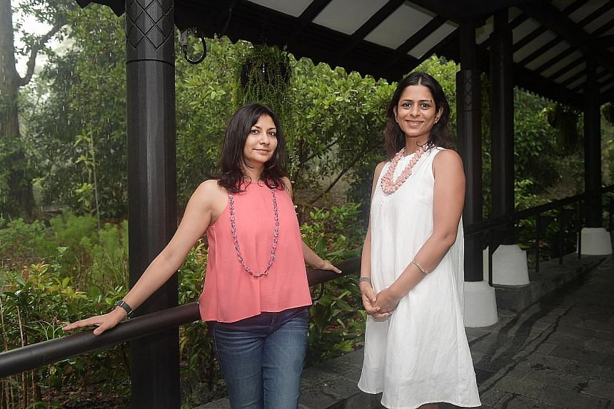 Ms Anuja Aggarwal (left) and Ms Lara Rath, the founders of the Secondsguru.com platform, conduct sustainability workshops on topics such as home composting and food security in Singapore.