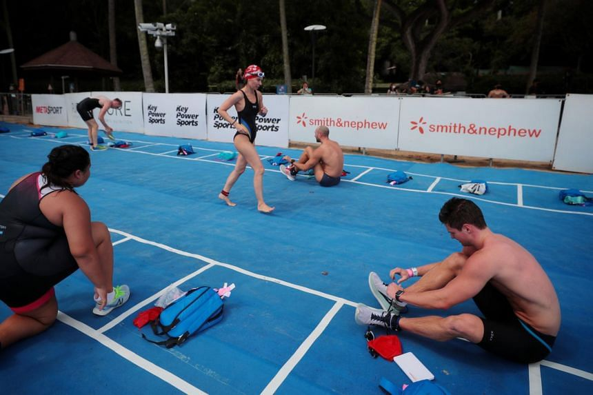 Racers at the transition area in the MetaSprint series aquathlon.