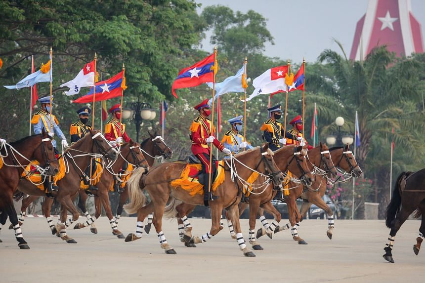 A parade on Armed Forces Day in Naypyitaw on March 27, 2021.