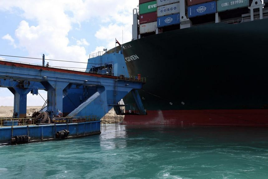 The Ever Given container ship in the Suez Canal on March 26, 2021.