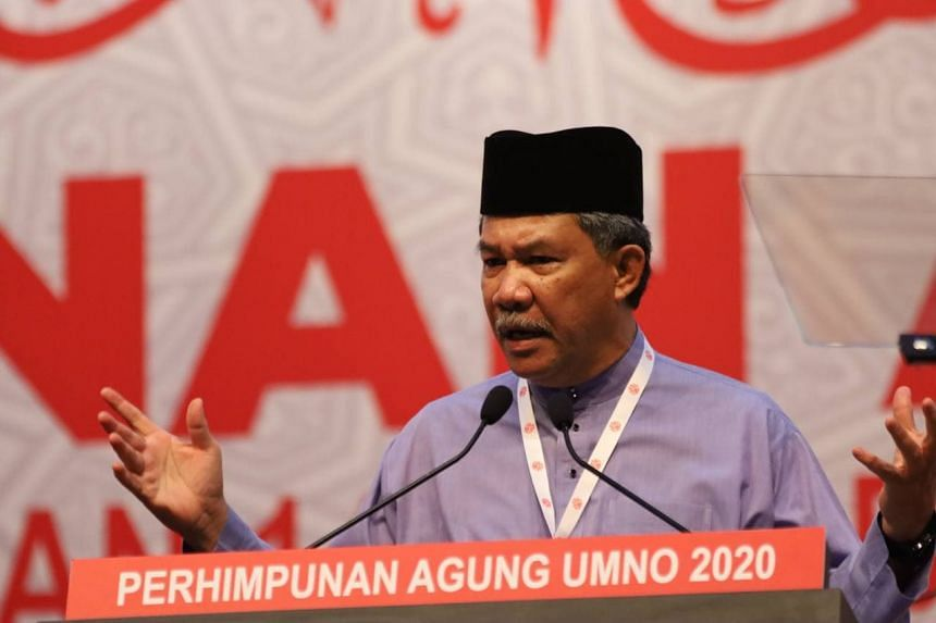 Umno Youth chief Asyraf Wajdi Dusuki speaking at the launch of the wing's annual meeting on March 27, 2021.
