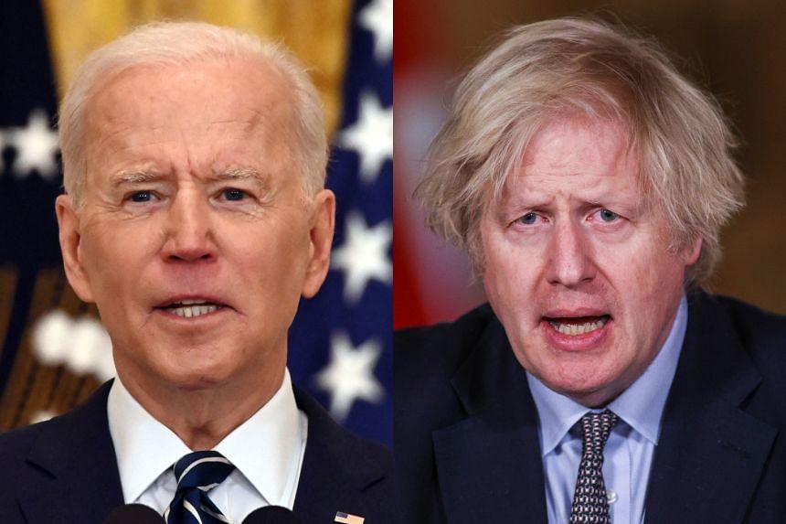 US President Joe Biden (left) spoke to British Prime Minister Boris Johnson in a phone call on March 26, 2021.