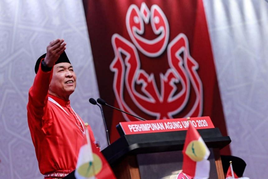 Umno president Ahmad Zahid Hamidi opening the party's general assembly on March 28, 2021.