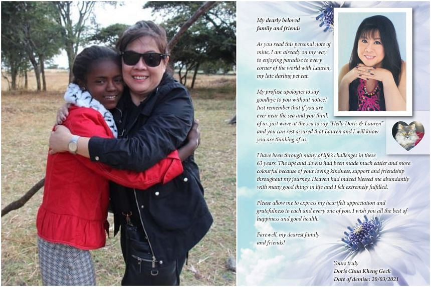 Ms Doris Chua in Ethiopia in 2017 with Konjit, the Ethiopian girl she started sponsoring in 2016 (left) and the obituary Ms Chua herself prepared and paid for months before her death on March 20.
