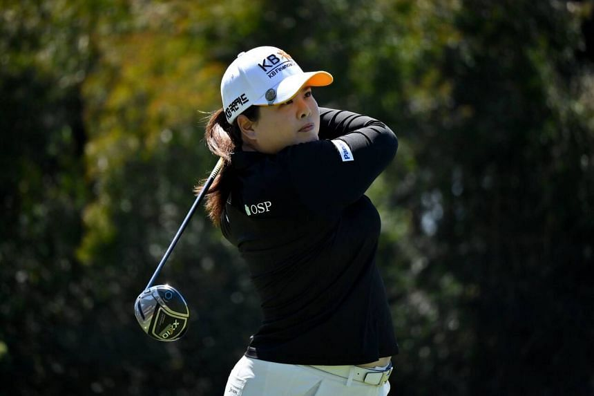 Inbee Park tees off the 2nd hole plays during Round Three of the KIA Classic in Carlsbad, California, on March 27, 2021.