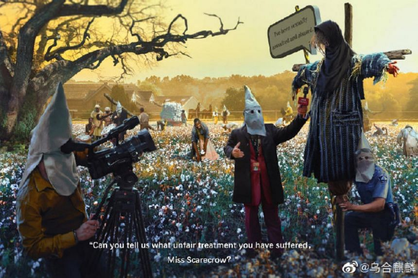The digital art by the artist who goes by the name Wuheqilin shows two figures with white pointed hoods interviewing a scarecrow in a field of cotton and black slaves.