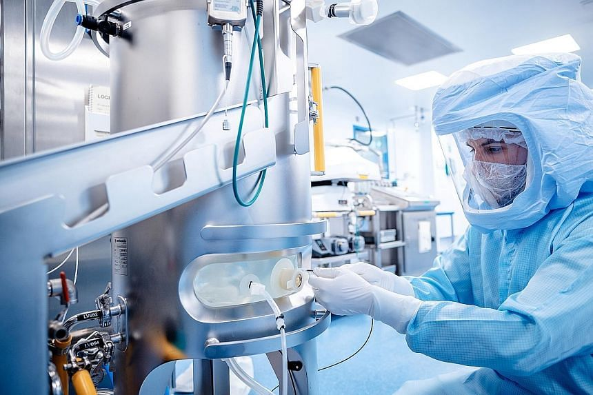 The Pfizer-BioNTech vaccine being manufactured at a facility in Marburg, Germany, in January. mRNA vaccines like this one involve injecting snippets of the virus' genetic material and not the whole virus into the body to stimulate an immune response.