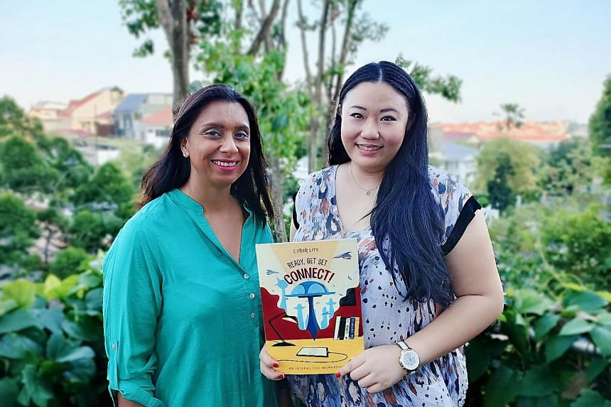 Nina Bual (left) and Michelle Yao, founders of Cyberlite Books, came up with activity book Ready, Get Set, Connect! for parents and their children to discuss online safety.
