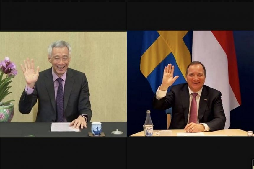 Prime Minister Lee Hsien Loong (left) and Swedish Prime Minister Stefan Lofven discussed global issues and possible further bilateral cooperation.