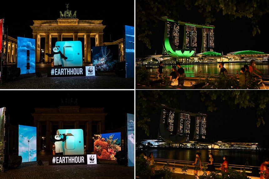 In Berlin (left), a World Wide Fund for Nature activist in a panda suit marked Earth Hour on Saturday by symbolically throwing a giant switch to turn off the lights of Germany's Brandenburg Gate before cheering after the job was done. In Singapore (r
