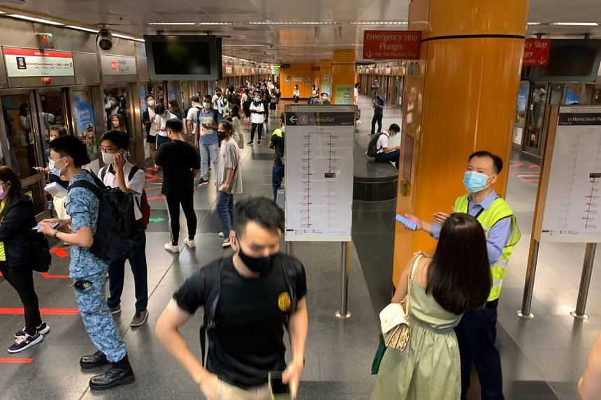 Commuters at Newton MRT station at 7.34am on March 29, 2021.