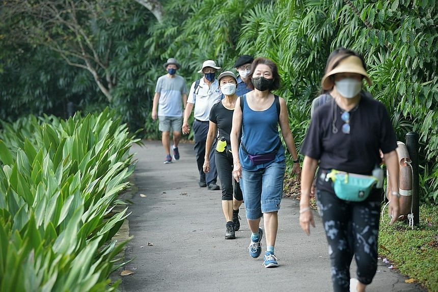 Participants of the Nature and Mindful Awareness Study, which found walking mindfully in a forest can improve one's mental, physical and social health, on a morning walk at the Singapore Botanic Gardens.