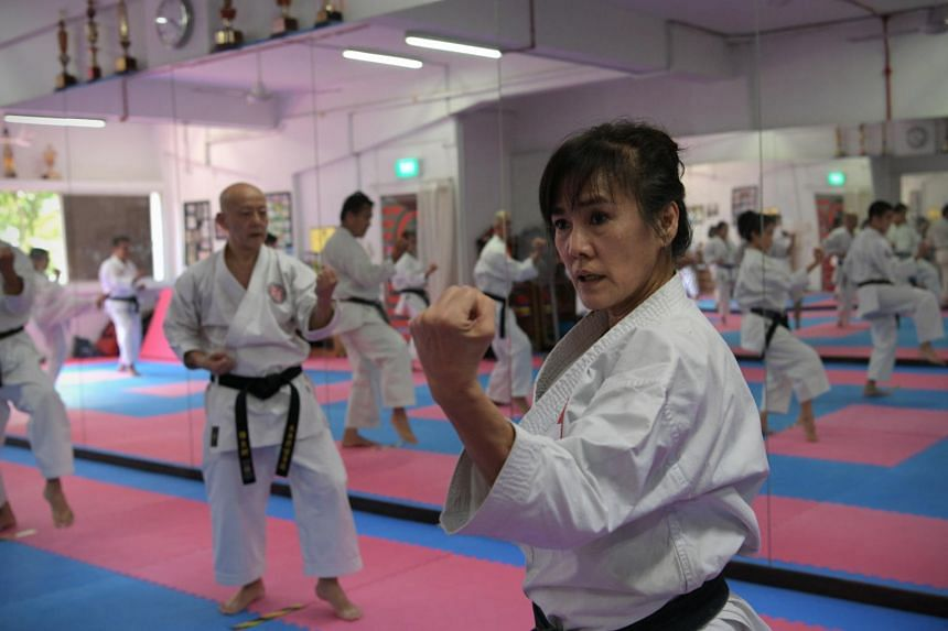 Ms Cindy Seah is a 6th Dan karate instructor and likely the oldest female karate teacher here.