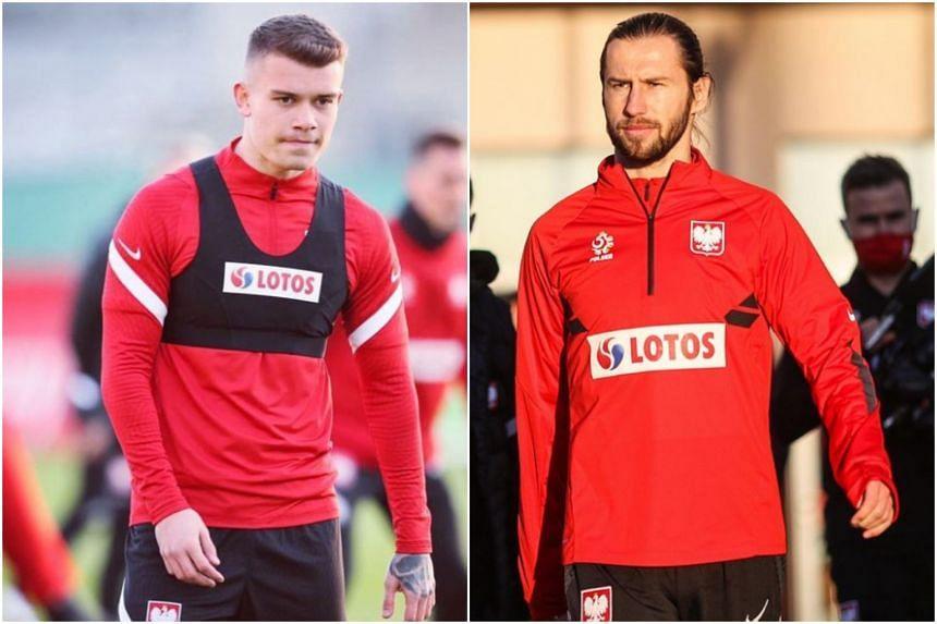 Poland players Grzegorz Krychowiak (right) and Kamil Piatkowski have tested positive for Covid-19.