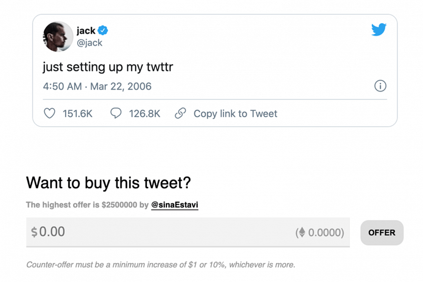 "Twitter founder Jack Dorsey's first tweet from 2006 - ""Just setting up my Twttr"" - sold for US$2.9 million (S$3.9 million)."