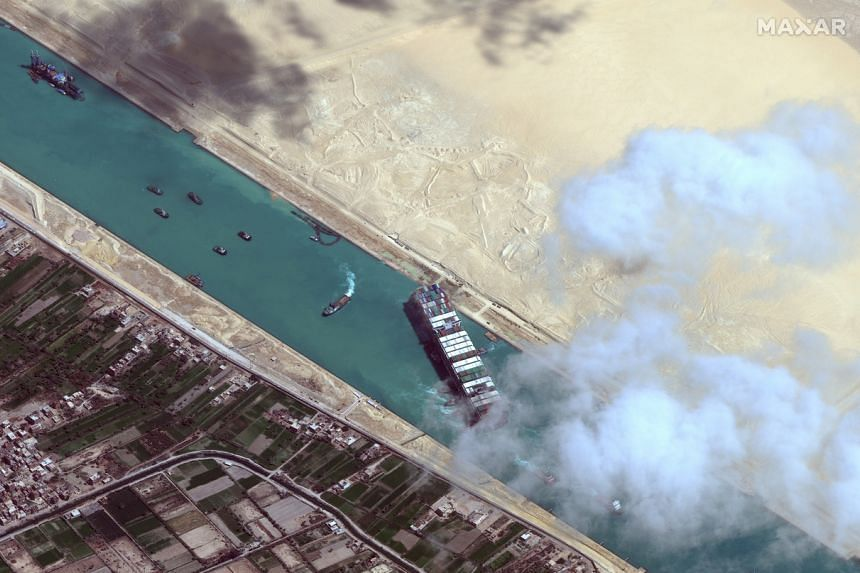 A satellite image showing the Ever Given container ship after it was moved away from the eastern bank of the Suez Canal on March 29, 2021.