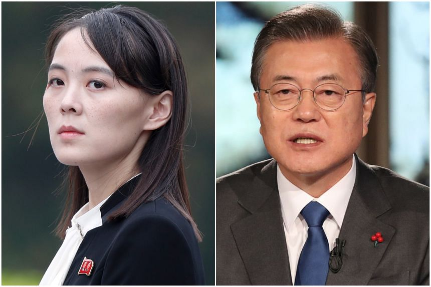 Ms Kim Yo Jong (left) called Mr Moon Jae-in's remarks disgraceful for agreeing with the United States.