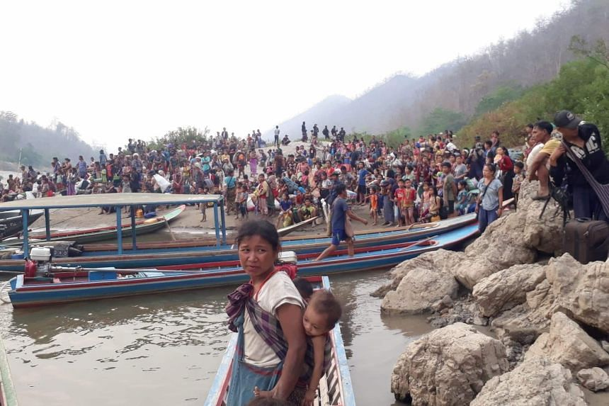 Karen refugees are seen at Salween riverbank in Mae Hong Son, Thailand on March 29, 2021.