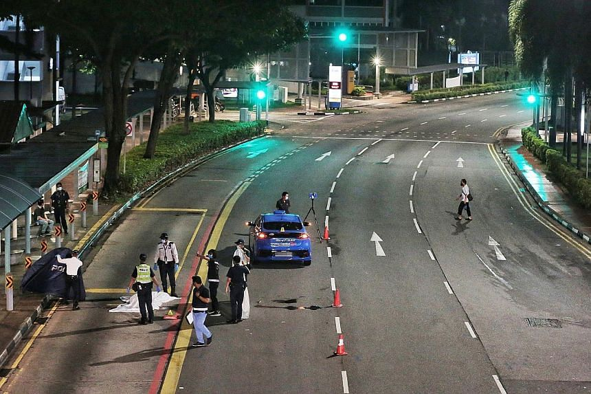 A 73-year-old man, who used a walking stick, was crossing the road in front of Block 8 North Bridge Road at about 12.40am when the incident happened. Police said a cabby was arrested for careless driving causing death.