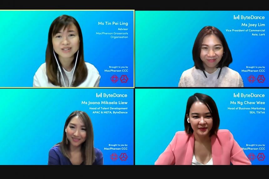 (Clockwise from top left) MacPherson MP Tin Pei Ling, Ms Joey Lim, Ms Ng Chew Wee and Ms Joana Liew.