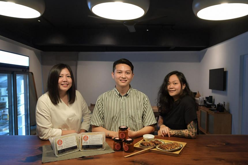 The Chua siblings at the newly-opened shop, CAI Eats, a ngoh hiang business in Jasmine Road.