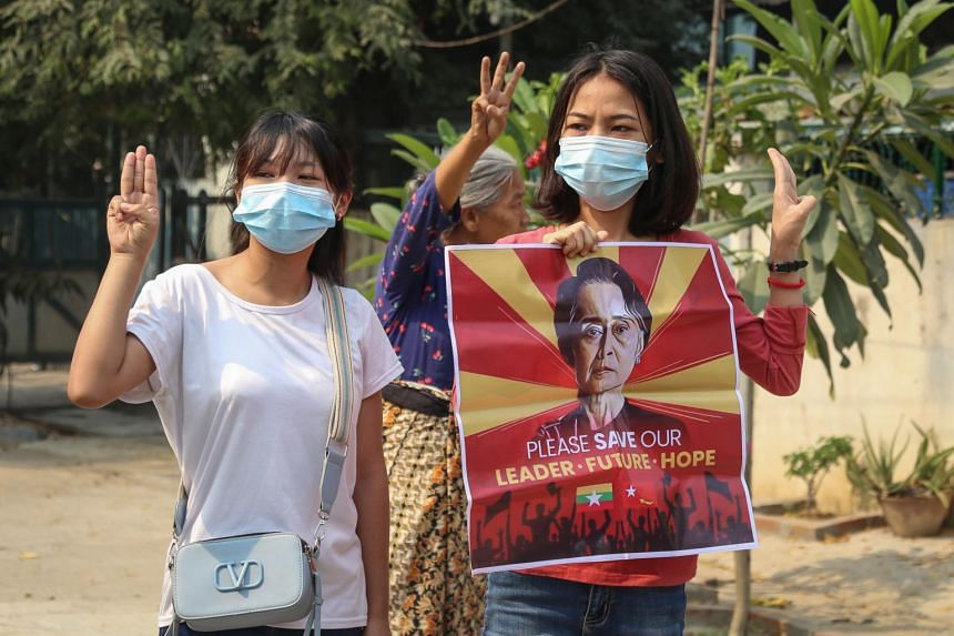 Supporters of Myanmar's deposed leader Aung San Suu Kyi, who has been in custody since the military seized power.