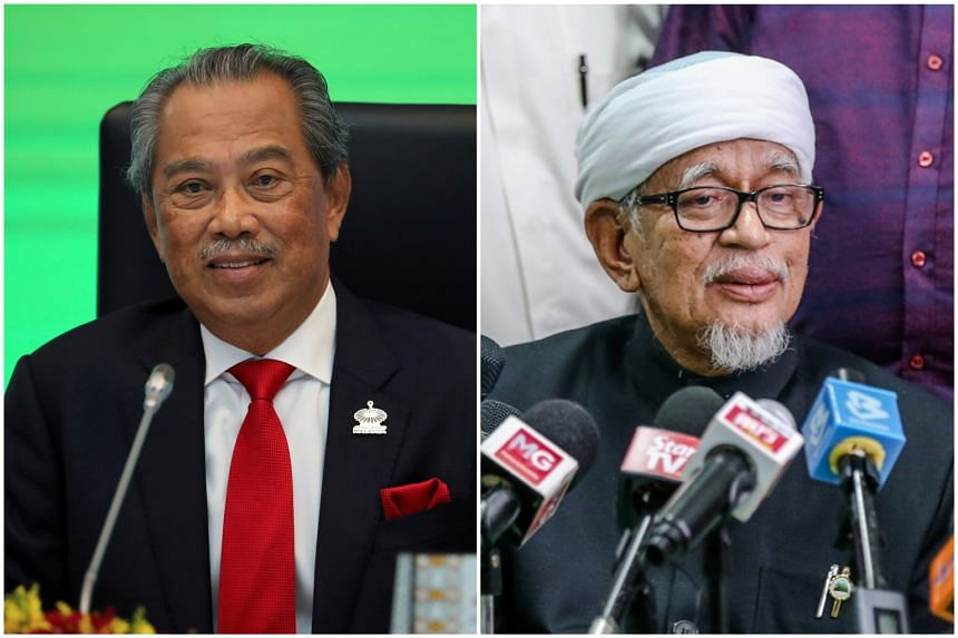 The statement followed a Tuesday meeting between Tan Sri Muhyiddin Yassin (left) and PAS president Abdul Hadi Awang.