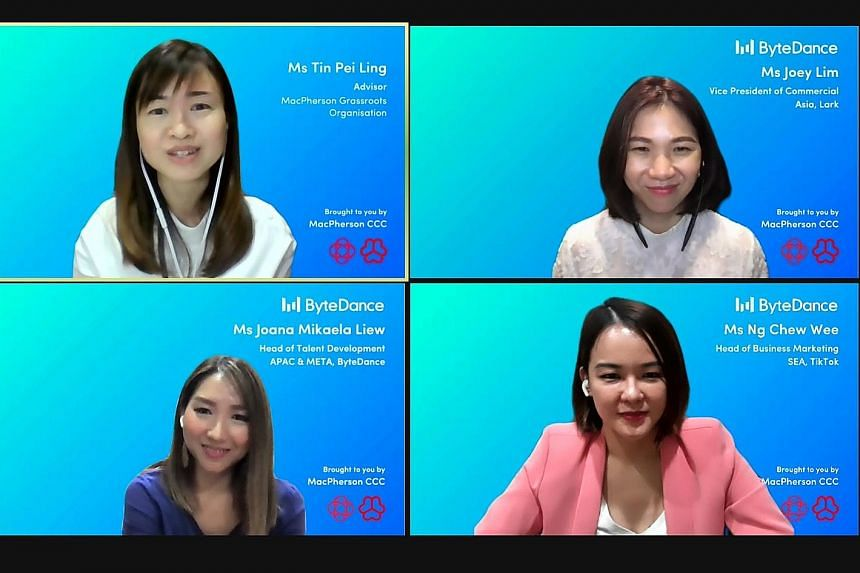 (Clockwise from top, left) MacPherson MP Tin Pei Ling hosting a virtual grassroots dialogue session with panellists Joey Lim, Ng Chew Wee and Joana Liew yesterday. The session was part of TikTok's new live-stream series, aimed at equipping young adul