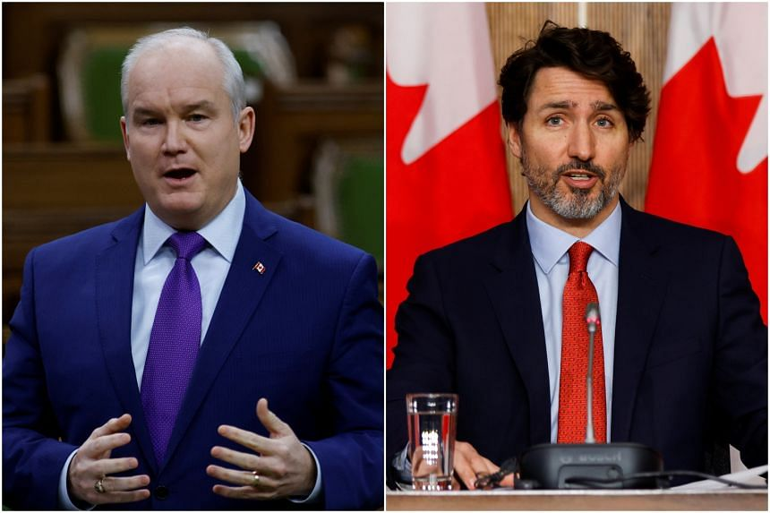 Mr Erin O'Toole (left), who won the leadership of Canada's Conservative Party in August, has fought for prominence against PM Justin Trudeau.