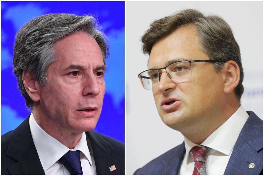 US Secretary of State Antony Blinken (left) affirmed Washington's support for Ukraine's territorial integrity in a phone call with Ukrainian Foreign Minister Dmytro Kuleba.