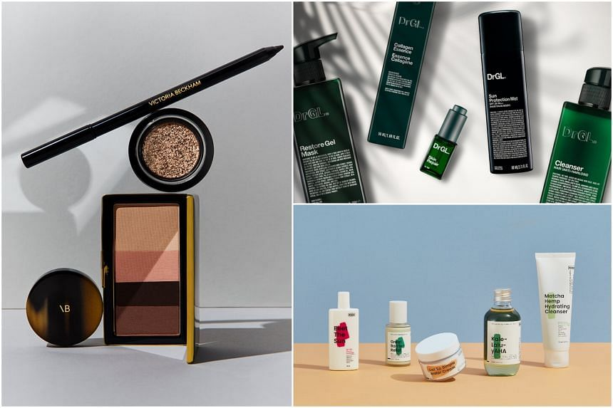 (Clockwise from left) Products from Victoria Beckham Beauty, DrGL and KraveBeauty.