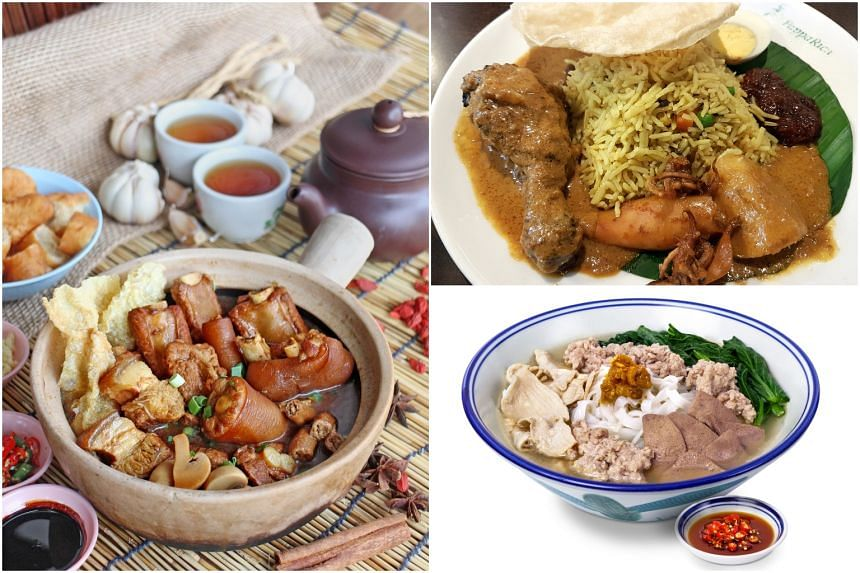 (Clockwise from left) Malaysian fare from Kota Zheng Zong Bak Kut Teh, PappaRich, and Malaysian Food Street.