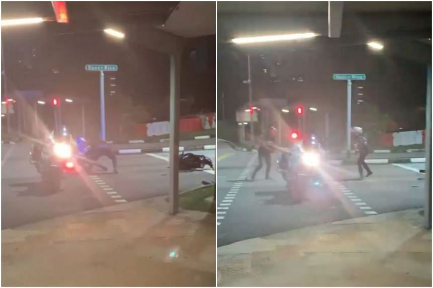 After his motorcycle flipped over and he fell off, the rider tried to fight an LTA officer. The man has been arrested for traffic and drug-related offences.