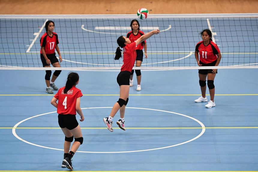 Fairfield Methodist School (Secondary) playing against Peicai Secondary School in a National School Games B division volleyball match at Our Tampines Hub on March 31, 2021.