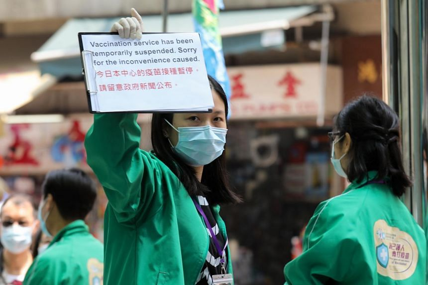 A vaccination centre administering the BioNTech Covid-19 vaccine in Hong Kong was temporarily closed on March 24, 2021.