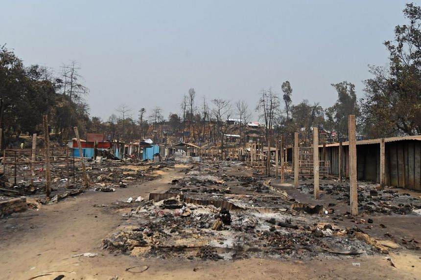 A devastating fire earlier on March 22 (pictured) killed 15 Rohingya and left nearly 50,000 homeless.