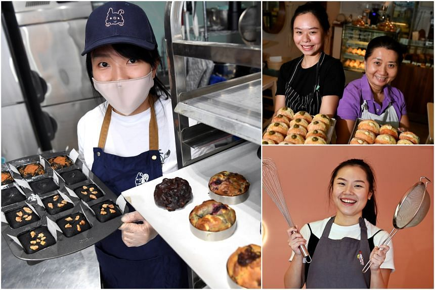(Clockwise from left) Home-based bakers who run Whiskdom, Puffs and Peaks and Rachelrax Cakes.