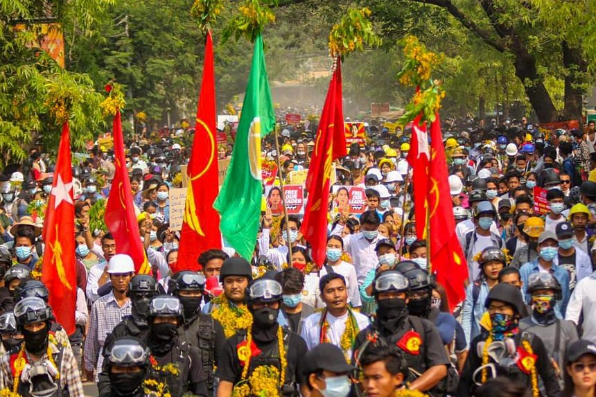 Protesters taking part in a demonstration against the military coup in Sagaing region, Myanmar, on April 1, 2021.