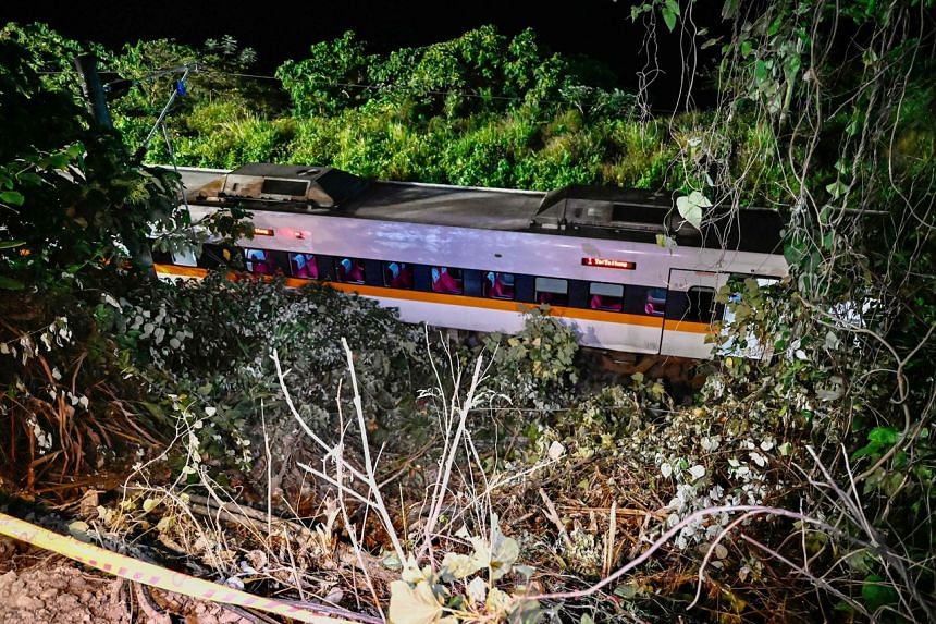 A train that derailed inside a tunnel in the mountains of Hualien, Taiwan, on April 2, 2021.