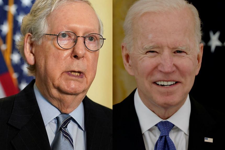Top Senate Republican McConnell (left) said Biden has no public mandate for the proposal.