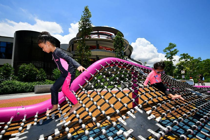 Children playing at the Leisure Nets at the newly opened Coastal PlayGrove at East Coast Park.