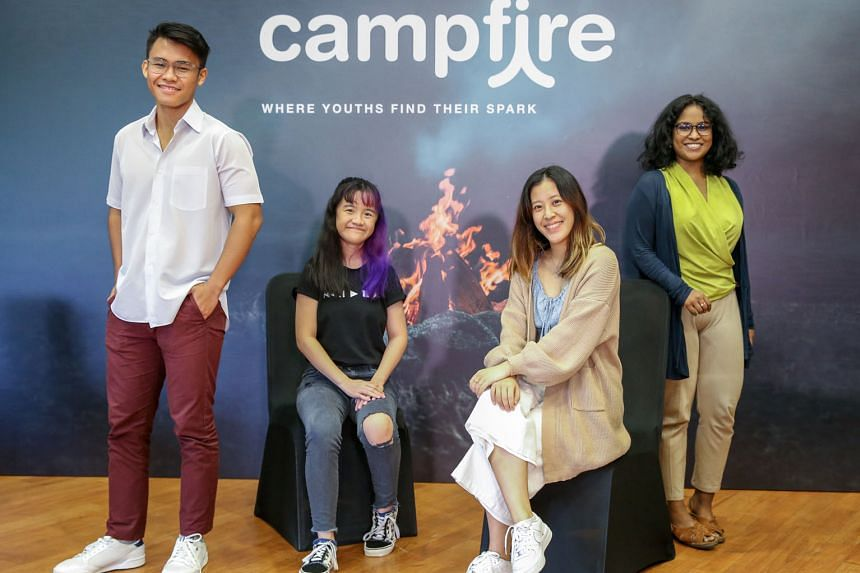 Campfire programme participants include (from left) full-time national serviceman Abdul Radhi, 21; Ngee Ann Polytechnic mass communication graduate Mabel Lee Si Yi, 20; NTU first-year communications student Debra Soh, 20; and artificial intelligence