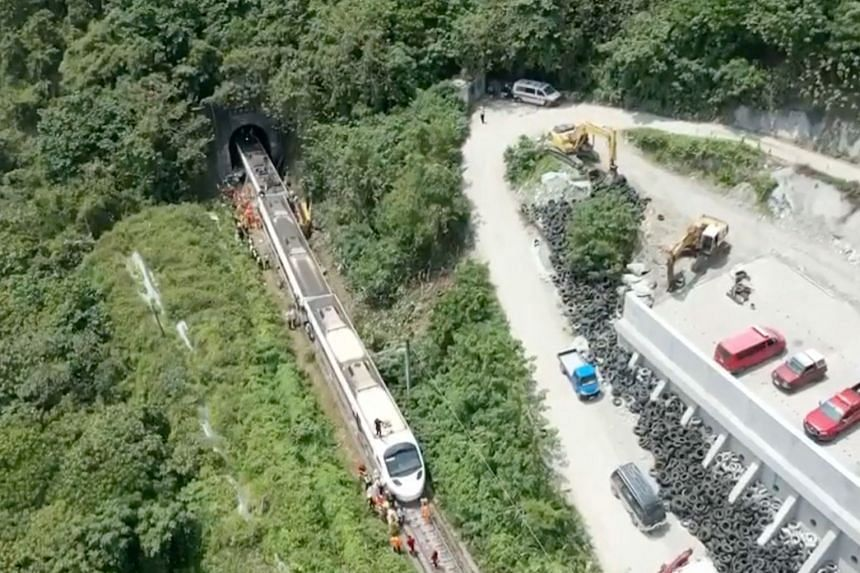 An aerial view of the train which derailed in a tunnel north of Hualien, Taiwan.
