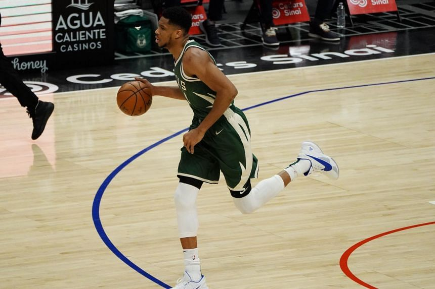 Milwaukee Bucks Giannis Antetokounmpo during the first half at Staples Center, in Los Angeles, on March 29, 2021.