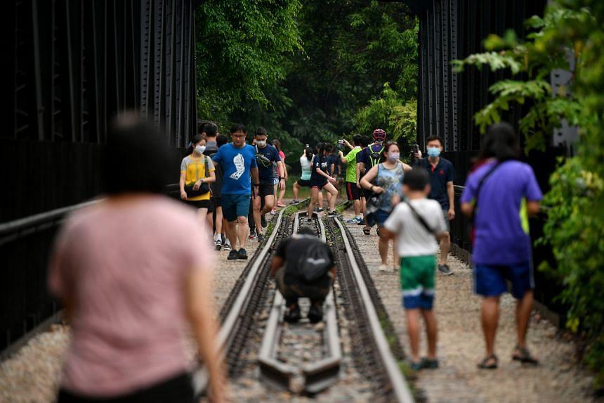 Crowd visiting the Upper Bukit Timah Truss Bridge at Rail Corridor (Central) on April 2, 2021.