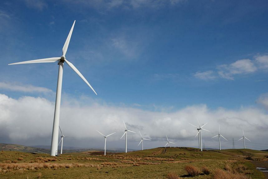 Wind turbines in South Wales, Britain, on March 26, 2021.